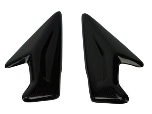 Headstock Infill Covers in Glossy Plain Weave Carbon Fiber for Triumph Street Triple 765 R,S 2017+