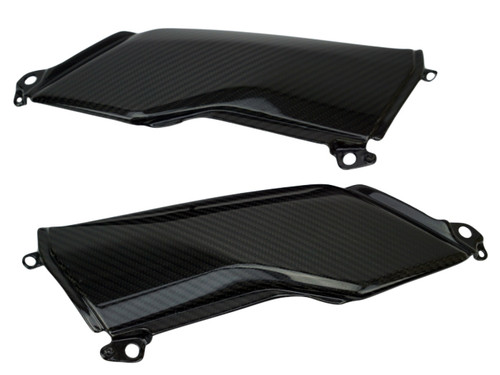 Under Tank Covers in Glossy Twill Weave Carbon Fiber for Kawasaki Z900 2017+