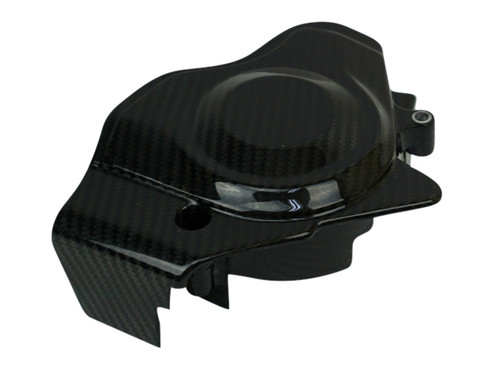 Starter Motor Cover in Glossy Twill Weave Carbon Fiber for Kawasaki ER6-F 2012-2016