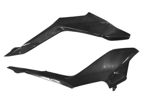 Under Seat Panels in Glossy Twill Weave Carbon Fiber for Ducati SuperSport 2017+
