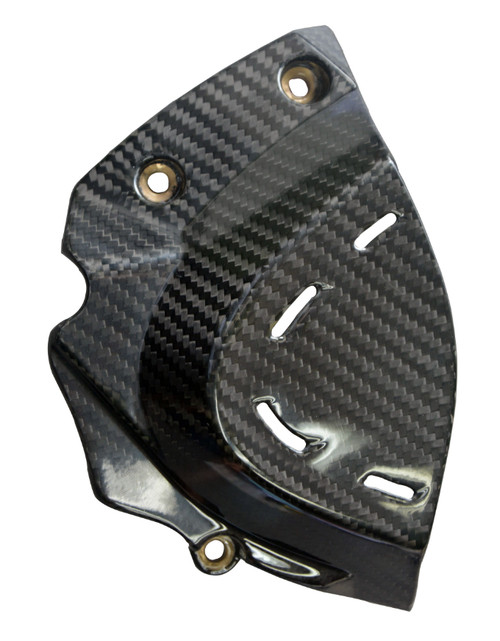 Sprocket Cover in Glossy Twill Weave Carbon Fiber for Ducati SuperSport 2017+