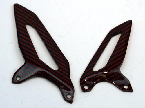 Heel Guards in Glossy Twill Weave Black & Orange Carbon Fiber for Ducati Panigale 1199, 1299