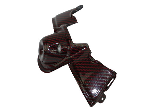 Ignition Guard in Black and Red Glossy Twill Weave Carbon Fiber for Ducati Panigale V4
