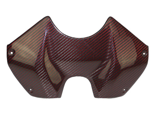 Tank Cover in Black and Red Glossy Twill Weave Carbon Fiber for Ducati Panigale V4