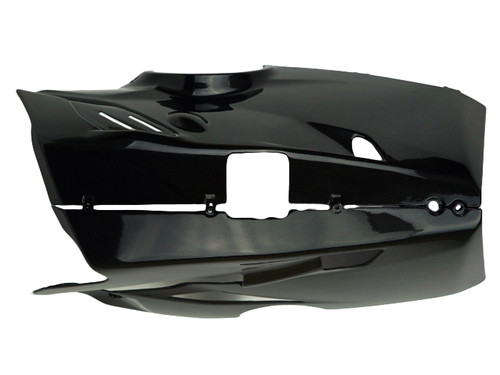 Belly Pan for Akrapovic Exhaust System in Glossy Plain Weave Carbon Fiber for Ducati Panigale V4
