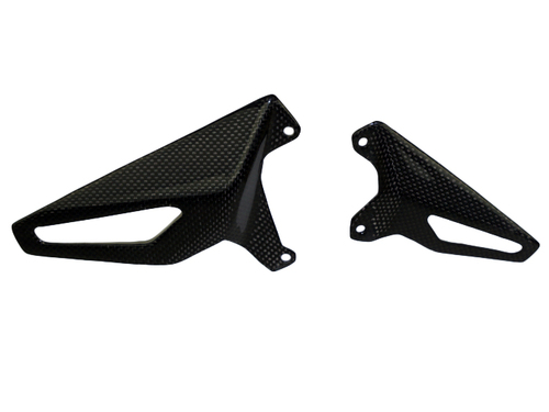 Heel Guards in Glossy Plain Weave Carbon Fiber for Ducati Panigale V4, Streetfighter V4