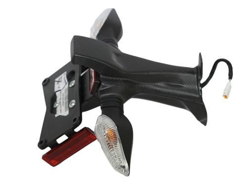 Short License Plate Holder in Matte Plain Weave Carbon Fiber for Ducati Panigale V4 (shown assembled with OEM parts)