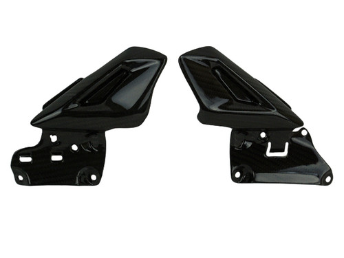 Headstock Infills in Glossy Twill Weave Shown for Triumph Street Triple 2013-2016.