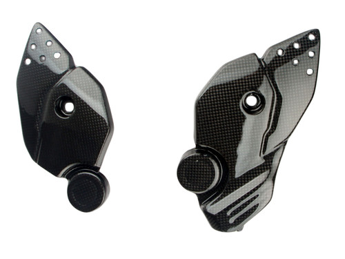 Heel Guards in Glossy Plain Weave Carbon Fiber for Honda Africa Twin CRF1000 2016+