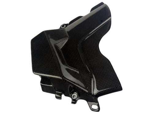 Sprocket Cover in Glossy Plain Weave Carbon Fiber for Honda Africa Twin CRF1000 2016+
