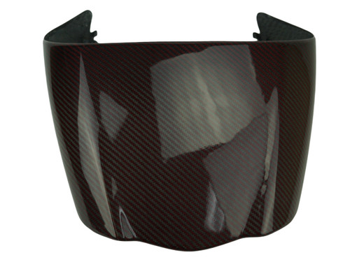 Seat Cowl in Black & Red Glossy Twill Weave Carbon Fiber for Ducati Diavel