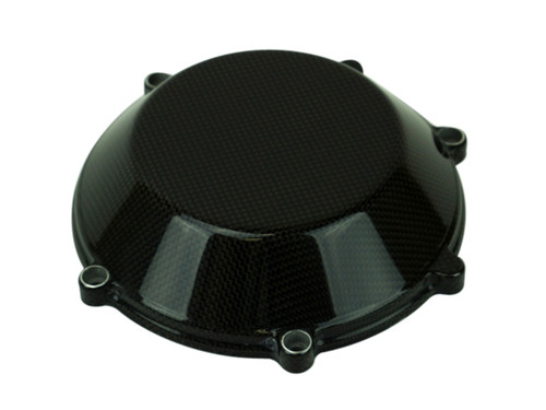 Clutch Cover (Style 5 with aluminum inserts) in Glossy Plain Weave Carbon Fiber for all four valve head, air cooled Ducati