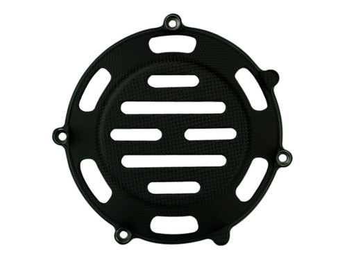 Clutch Cover (Style 6 with aluminum inserts) in Matte Plain Weave for all four valve head, air cooled Ducati