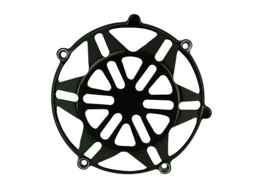 Clutch Cover (Style 7 with aluminum inserts) in Glossy Plain Weave Carbon Fiber for all four valve head, air cooled Ducati