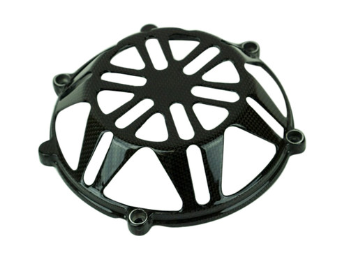 Clutch Cover (Style 7 with aluminum inserts)  in 100% Carbon Fiber for  all four valve head, air cooled Ducati