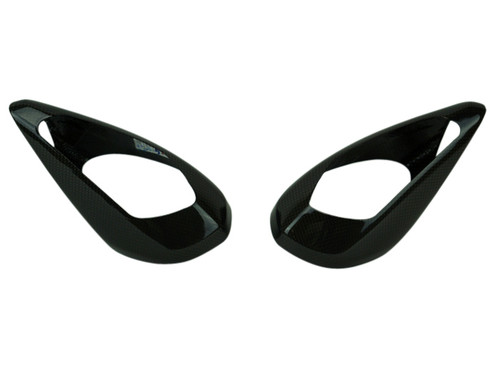 Mirror Covers in Glossy Twill Weave Carbon Fiber for Ducati Panigale V4, 959
