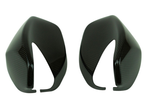Mirror Covers in Glossy Twill Weave shown for Ducati Multistrada 950, 1260 2018+, Enduro 1200/1260.