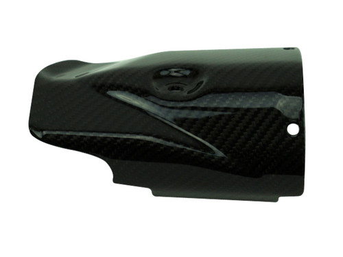 Exhaust Guard in Glossy Twill Weave Carbon Fiber for Yamaha R6 2017+