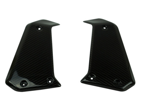 Radiator Covers in Glossy Twill Weave Shown for Ducati Scrambler 1100, Special, Sport.
