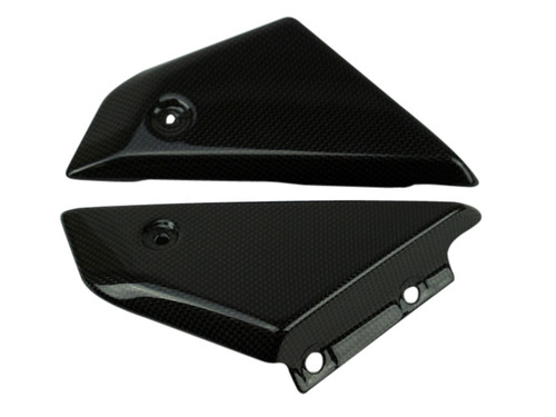Small Side Covers in Glossy Twill Weave shown for Ducati Scrambler 1100, Special, Sport.