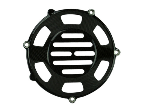 Clutch Cover (Style 10 ) in Glossy Plain Weave Carbon Fiber for all four valve head, air cooled Ducati