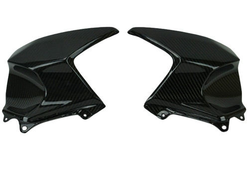 Tank Covers in Glossy Twill Weave Carbon Fiber for Kawasaki H2 SX