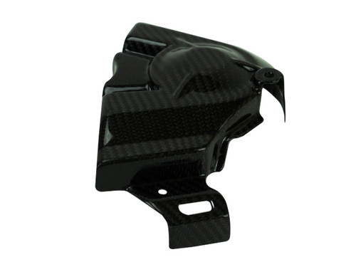 Sprocket Cover in Glossy Twill Weave Carbon Fiber for Kawasaki H2 SX