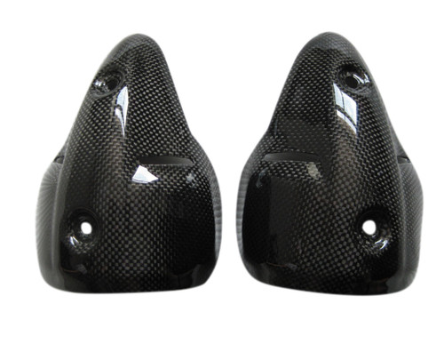 Glossy Plain Weave Carbon Fiber Silencer Guards/ Heat Shields for Ducati Monster 696 / 796 / 1100  07-10