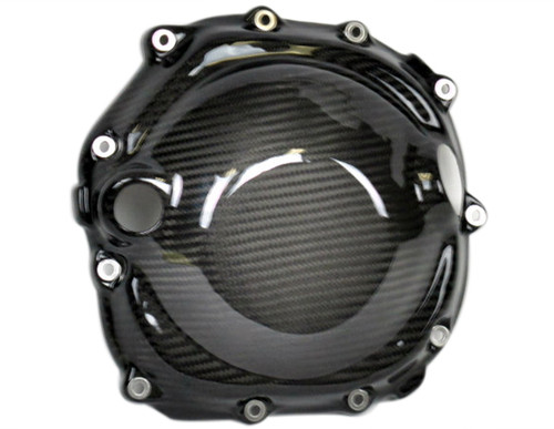 Clutch Cover in Glossy Twill Weave Carbon Fiber for Kawasaki ZX14-ZZR1400 2006+
