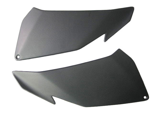 Under Upper Fairing Covers for Aprilia Tuono V4 11+ in Matte Plain Weave Carbon Fiber