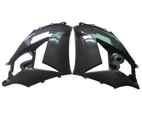 Glossy Plain Weave Carbon Fiber Side Fairings for Kawasaki ZX14/ZZR1400 06-11