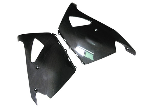Glossy Plain Weave Carbon Fiber Lower Fairings for Kawasaki ZX14/ZZR1400 2006+