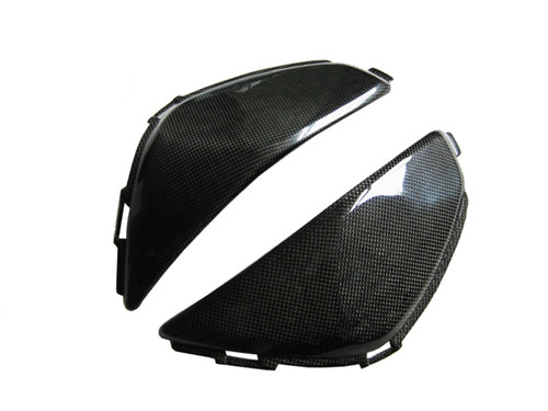 Side Tank Covers for Honda CBR 600RR 07-12 in Glossy Plain Weave Carbon Fiber