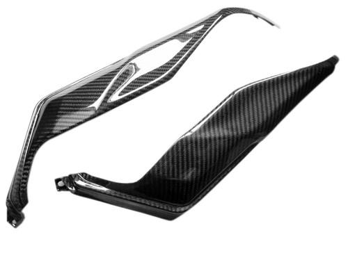 Glossy Twill Weave Carbon Fiber Under Tank Covers for Triumph Daytona 675, Street Triple 2013+
