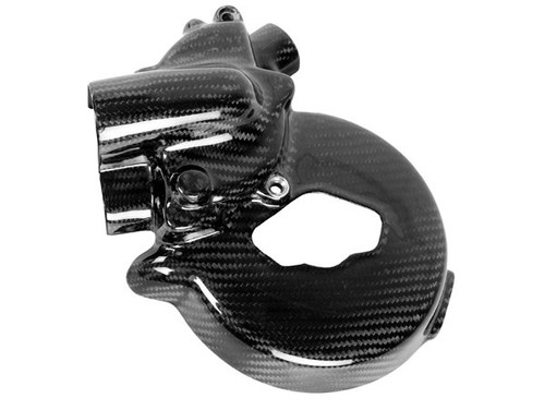 Water Pump Cover for Ducati 848,1098,1198, and Multistrada in Glossy Twill Weave Carbon Fiber