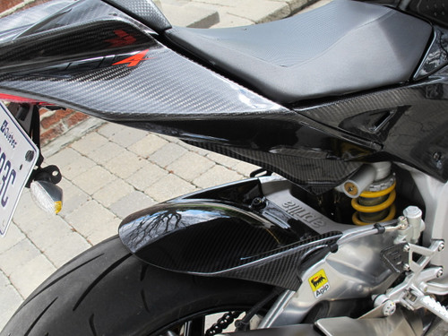 Glossy Twill Weave Carbon Fiber Tail Fairings for Aprilia RSV4 2009+ installed