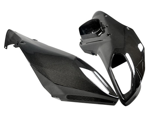 Glossy Plain Weave Carbon Fiber Front Beak Air Intakes for Ducati Multistrada 1200