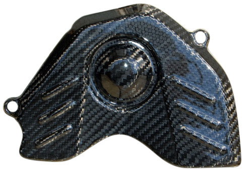 Sprocket Cover in Glossy Twill Weave Carbon with Fiberglass for Honda CBR 600RR 07-12