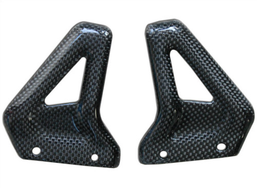 Passenger Heel Guards in Glossy Plain Weave Carbon Fiber for Ducati Monster S2R, S4R