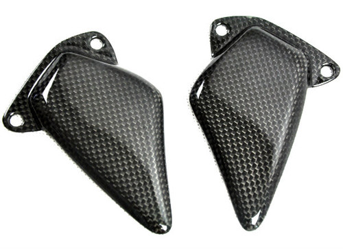 Heel Plates in Glossy Twill Weave Carbon Fiber for Ducati ST2, ST4, ST3