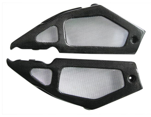 Glossy Plain Weave Carbon Fiber Tank Side Panels for Aprilia RSV Mille 01-03