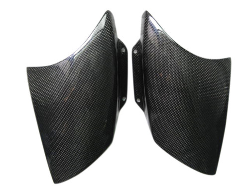 Glossy Plain Weave Carbon Fiber Front Fairing Air Scoops for Aprilia RSV Mille 01-03