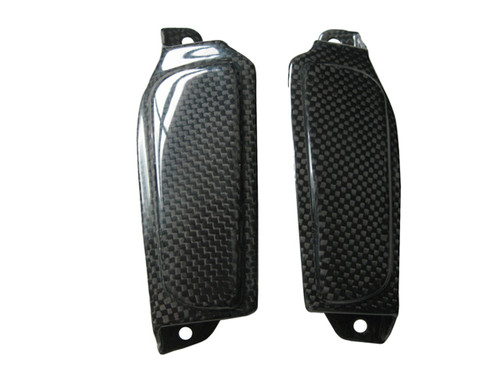 Glossy Plain Weave Carbon Fiber Rear Footrest Cutout Covers for Yamaha R6 06-07