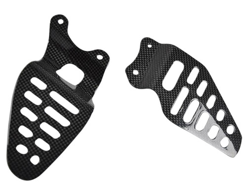 Heel Plates in Glossy Plain Weave Carbon Fiber for Yamaha R6 06-07