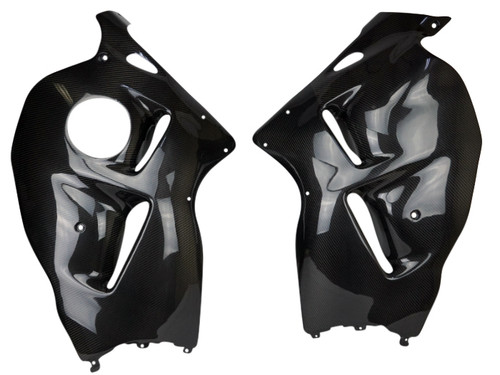 Side Panels in Glossy Twill Weave Carbon Fiber for Suzuki GSX1300 R Hayabusa 99-07