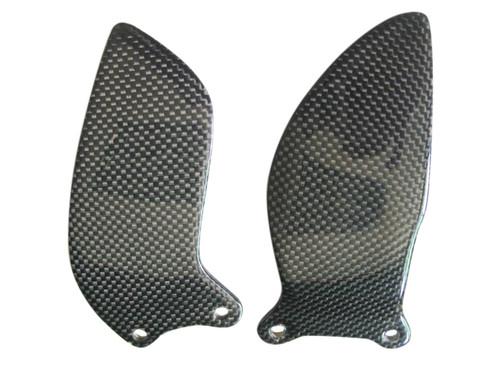 Glossy Plain Weave Carbon Fiber  Heel Plates (front) for Suzuki GSXR 600, GSXR 750  2006-2007