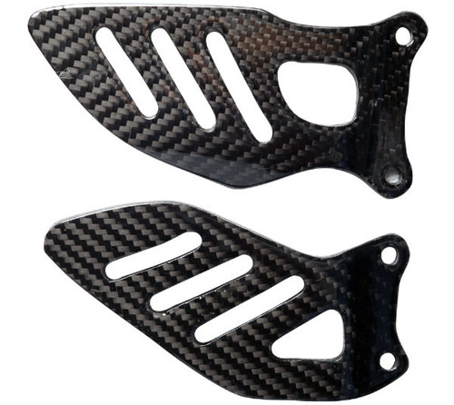 Heel Plates (style #2) in Glossy Twill Weave Carbon Fiber for Suzuki GSXR 600, GSXR 750 2006-2007
