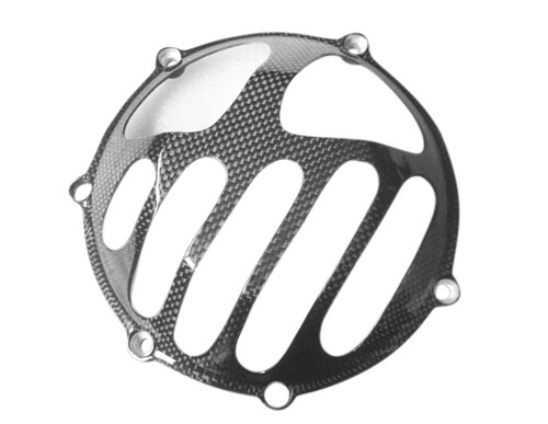Glossy Plain Weave Carbon Fiber  Clutch Cover for all Ducati with Dry Clutches (style 3)