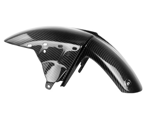 Front Fender in Glossy Twill Weave Carbon Fiber for Kawasaki  ZX6R 05-08, ZX10R 04-07