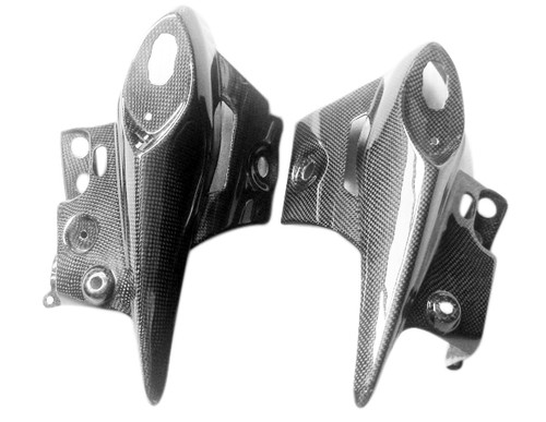 Glossy Plain Weave Carbon Fiber Rear Blinker Panels for Kawasaki ZX6R 05-06